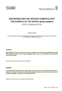 ARE MARINE DRIFTING SPECIES COSMOPOLITAN? THE EXAMPLE ...