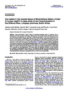 Are metals in the muscle tissue of Mozambique tilapia a ... - CiteSeerX