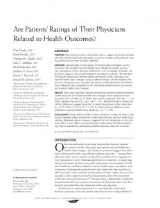 Are Patients' Ratings of Their Physicians Related to Health Outcomes?