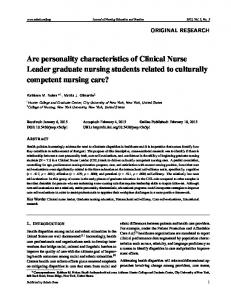 Are personality characteristics of Clinical Nurse Leader ... - Sciedu Press
