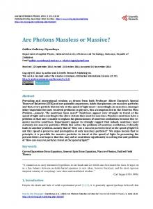 Are Photons Massless or Massive? - Scientific Research Publishing