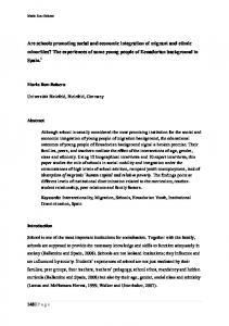 Are schools promoting social and economic integration of migrant and ...