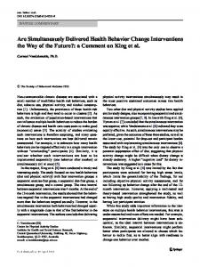 Are Simultaneously Delivered Health Behavior Change Interventions ...