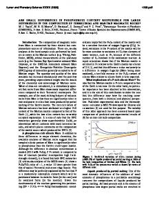 are small differences in phosphorous content responsible for large ...