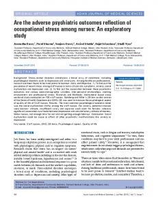 Are the adverse psychiatric outcomes reflection of occupational stress