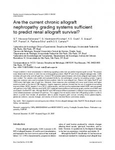 Are the current chronic allograft nephropathy grading ... - SciELO