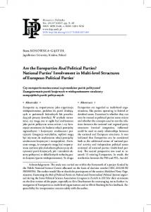 Are the Europarties Real Political Parties? National Parties ... - UMK