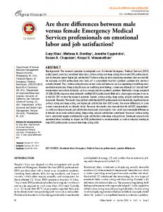 Are there differences between male versus female Emergency ...