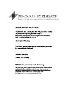 Are there gender differences in family trajectories by education in ...