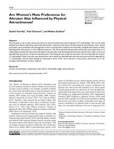 Are Women's Mate Preferences for Altruism Also ... - SAGE Journals