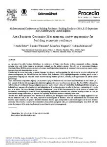 Area Business Continuity Management, a New ... - ScienceDirect