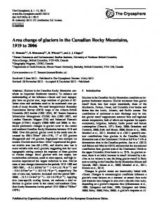 Area change of glaciers in the Canadian Rocky Mountains, 1919 ... - Sfu