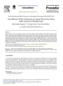 Area Efficient VLSI Architecture for Square Root Carry Select ... - Core