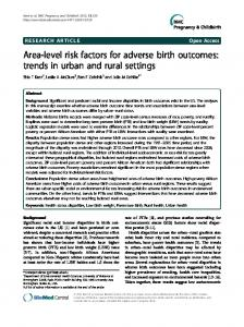 Area-level risk factors for adverse birth outcomes - BioMedSearch
