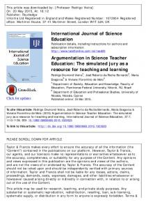 Argumentation in Science Teacher Education: The simulated jury as a ...
