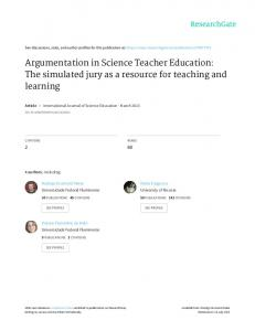 Argumentation in Science Teacher Education: The