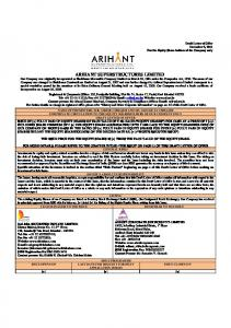 Arihant Superstructures Ltd(Rights Issue) - BSE