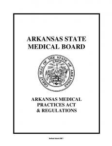 Arkansas Medical Practices Act and Regulations, January 2016