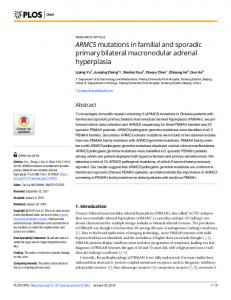 ARMC5 mutations in familial and sporadic primary bilateral ... - PLOS