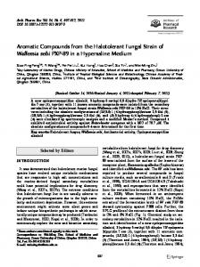 Aromatic Compounds from the Halotolerant Fungal Strain of Wallemia ...