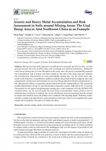 Arsenic and Heavy Metal Accumulation and Risk Assessment ... - MDPI