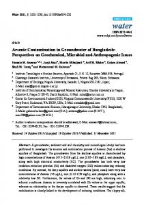 Arsenic Contamination in Groundwater of