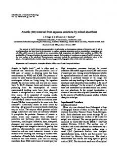 Arsenic (III) removal from aqueous solutions by mixed adsorbent - NOPR