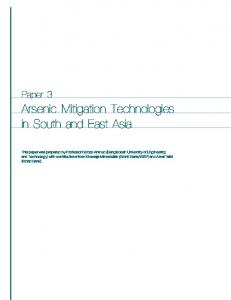 Arsenic Mitigation Technologies in South and ... - World Bank Group