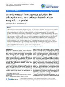Arsenic removal from aqueous solutions by ... - BioMedSearch