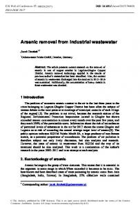 Arsenic removal from industrial wastewater - E3S Web of Conferences