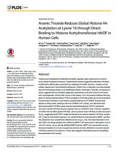 Arsenic Trioxide Reduces Global Histone H4 Acetylation at ... - Plos