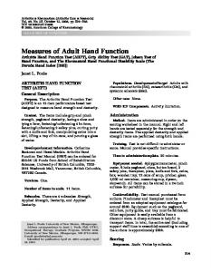 Arthritis Hand Function Test - Wiley Online Library