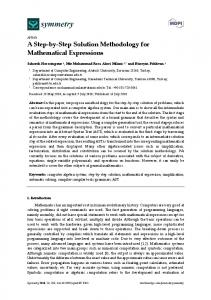 Article A Step-by-Step Solution Methodology for Mathematical ... - MDPI
