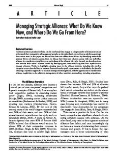 ARTICLE Managing Strategic Alliances: What Do We Know Now, and ...