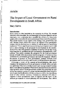 Article The Impact of Local Government on Rural ... - Transformation
