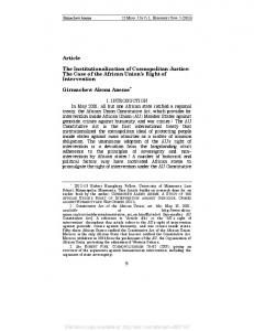 Article The Institutionalization of Cosmopolitan Justice ... - SSRN papers