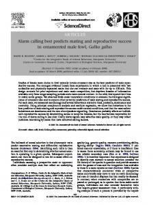 ARTICLES Alarm calling best predicts mating and ... - Ximena Nelson