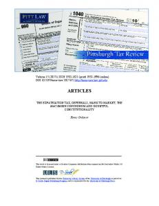 articles - Pittsburgh Tax Review - University of Pittsburgh