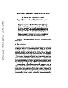Artificial Agents and Speculative Bubbles