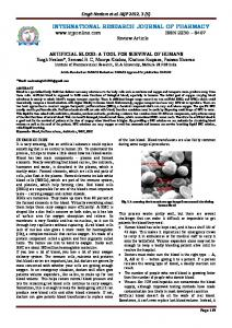 artificial blood - International Research Journal of Pharmacy