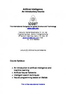 Artificial Intelligence, An Introductory Course Course ... - ICGST