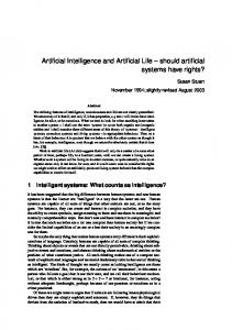 Artificial Intelligence and Artificial Life - Susan Stuart's Home Page