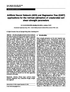 Artificial Neural Network (ANN) and Regression Tree (CART ...