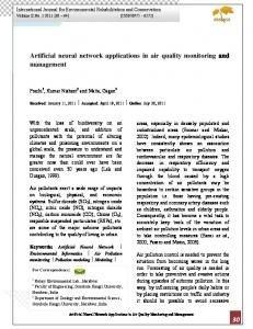 Artificial neural network applications in air quality