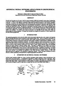 artificial neural network applications in geotechnical ...