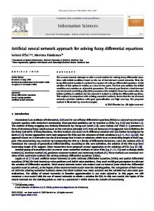 Artificial neural network approach for solving fuzzy differential ...
