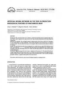 ARTIFICIAL NEURAL NETWORK AS THE TOOL IN PREDICTION ...