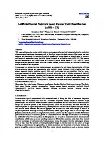 Artificial Neural Network based Cancer Cell ...