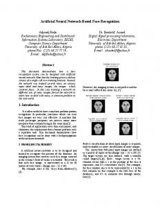 artificial neural network-based face recognition - CiteSeerX