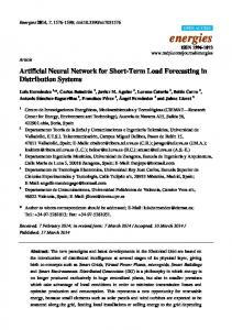 Artificial Neural Network for Short-Term Load Forecasting in ... - MDPI